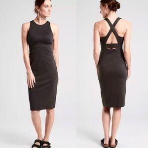 Athleta   'Deep Breath' Black Bralette Midi Dress